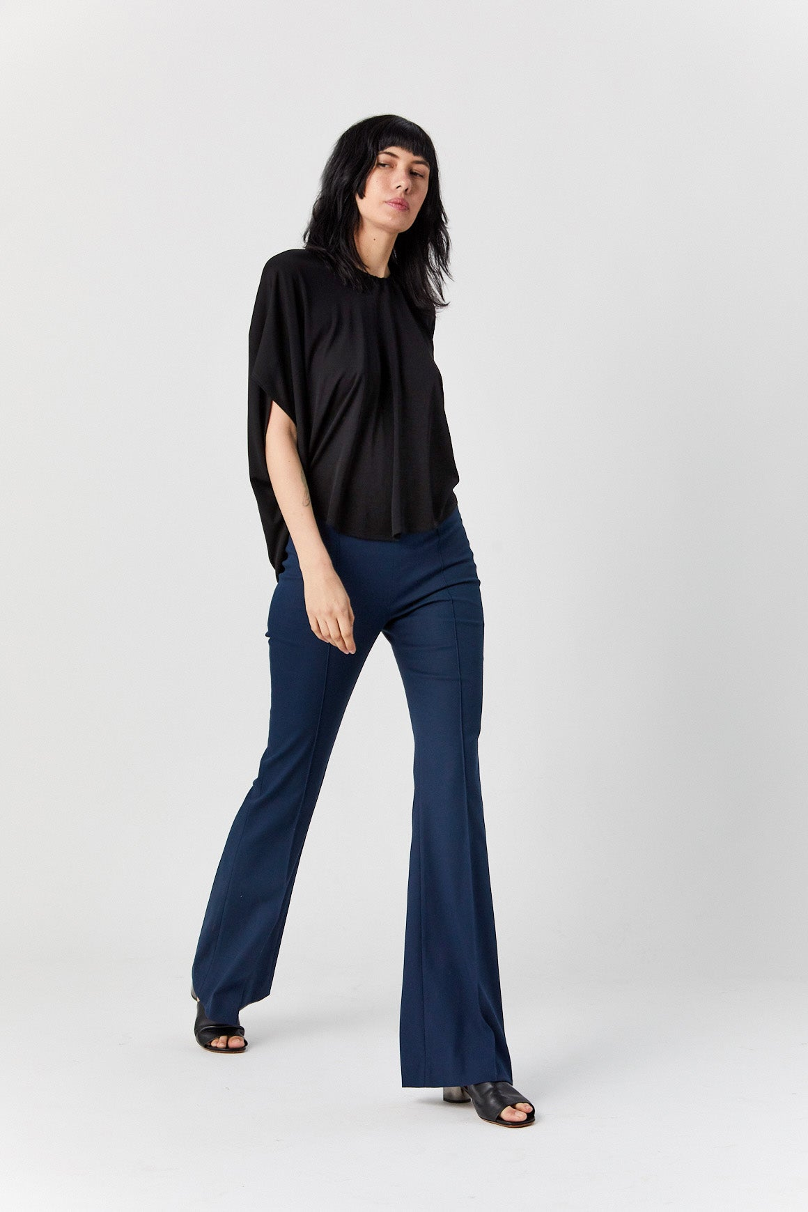 ROSETTA GETTY - Pintuck Flared Pant, Navy