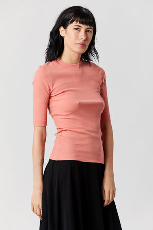 ROSETTA GETTY - Cropped Sleeve T-shirt, Coral