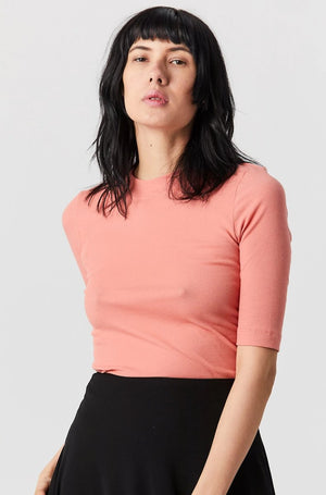 Cropped Sleeve T-shirt, Coral