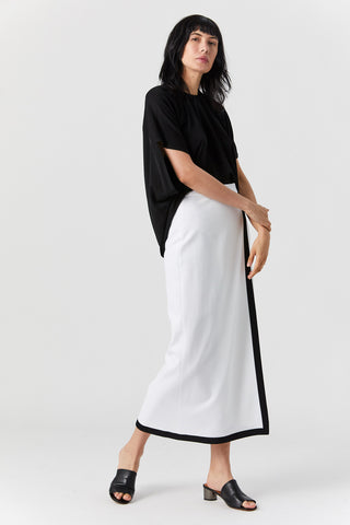 Bordered Wrap Front Skirt, White/Black