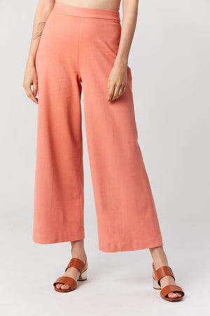 ROSETTA GETTY - Pull on crop straight trouser, Coral