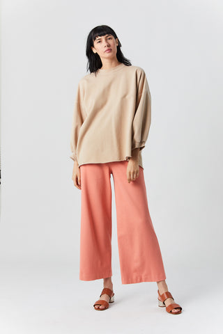 Pull on crop straight trouser, Coral