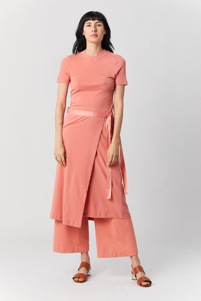ROSETTA GETTY - Apron Wrap T-shirt, Coral