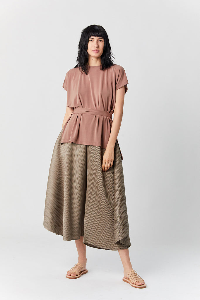 Drape Jersey Top, Dark Beige