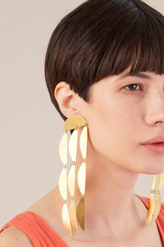 Rain Duster Earrings, Gold Satin