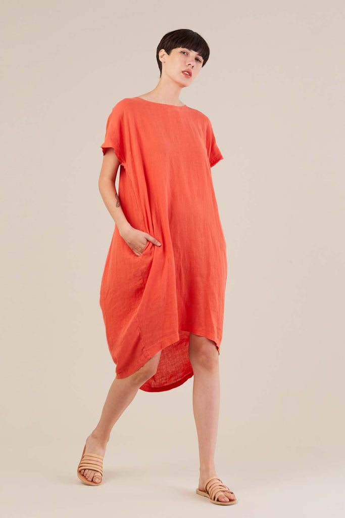 Pleated Cocoon Dress, Paprika