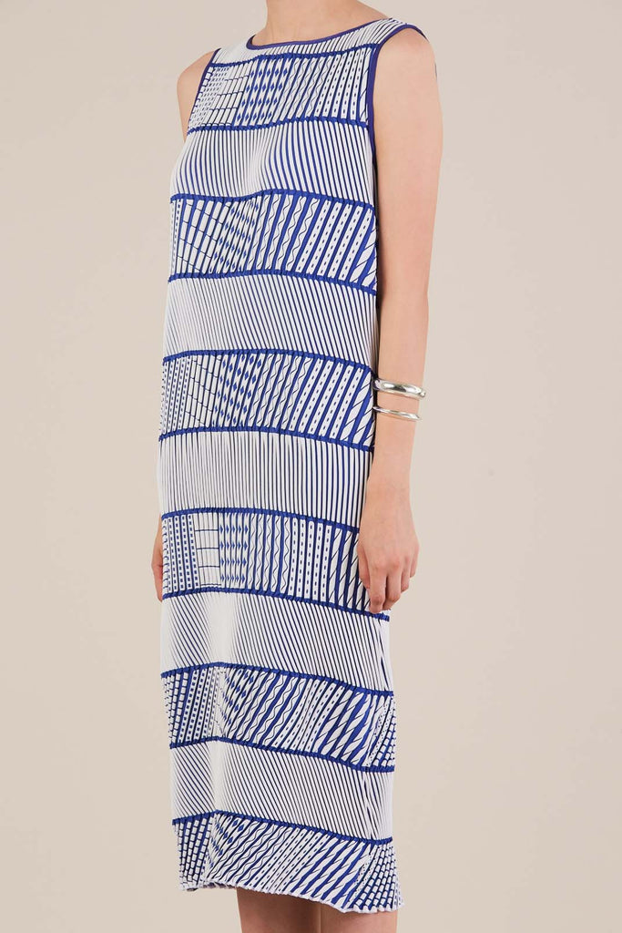 3D dress in Blue/White by Issey Miyake