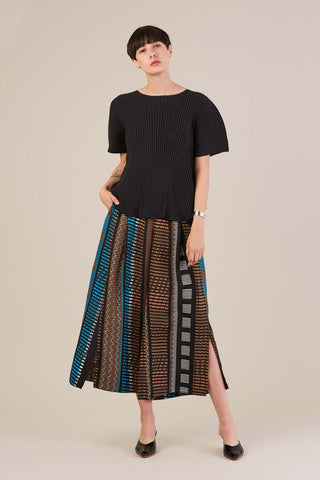 Wide leg pant, Brown/Blue