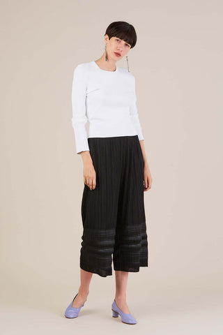 Pleated Under leg Trousers, Black