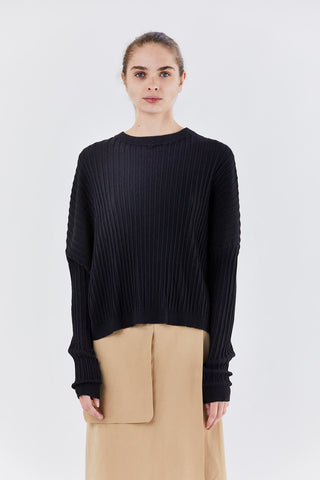 rib sweater, black