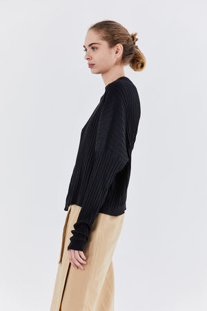 Dušan - rib sweater, black