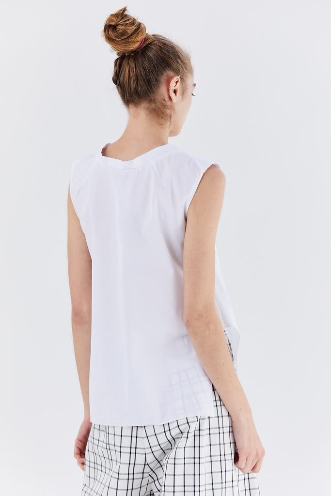 Dušan - Sleeveless v-neck shirt, white