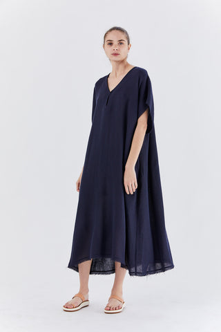 caftan dress, navy
