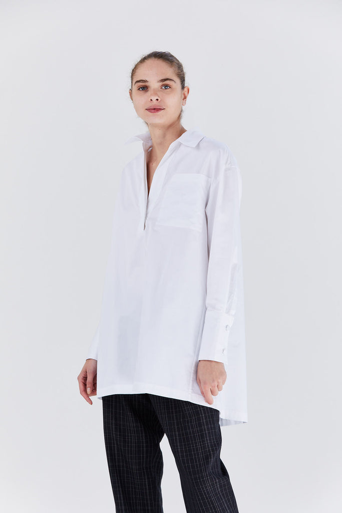 sateen shirt, white
