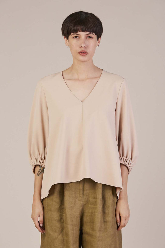 V-neck trapeze top in Wheat by Tibi