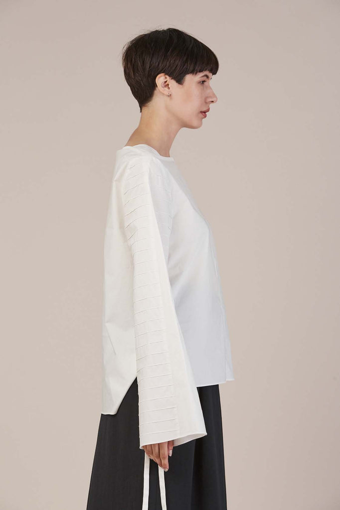 Poplin Top in White by Tibi