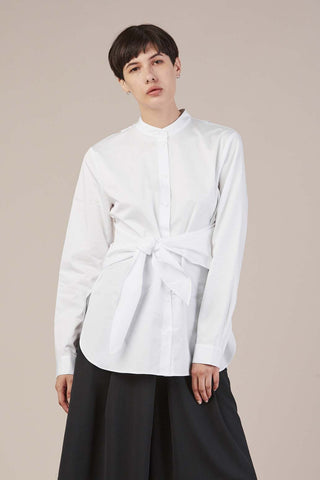 Tie front shirt, White