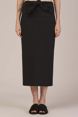 Tie Knot Pencil Skirt, Black