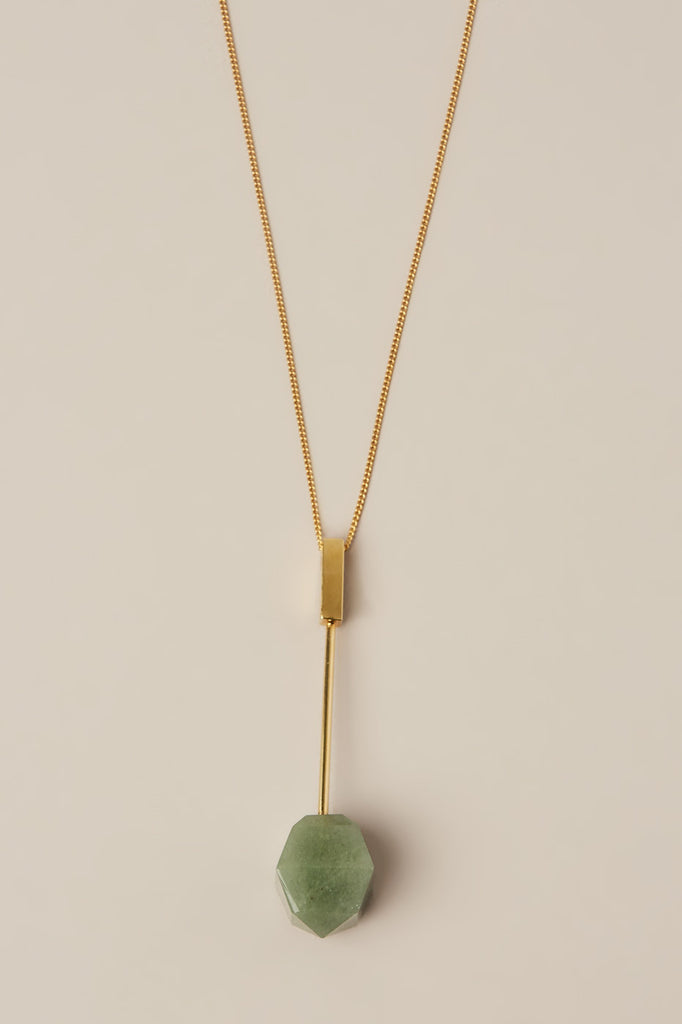 Aventurine Stone on Gold Pendant by Kluane