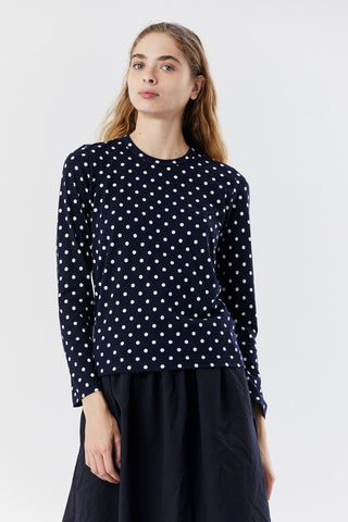 polka dot top, navy