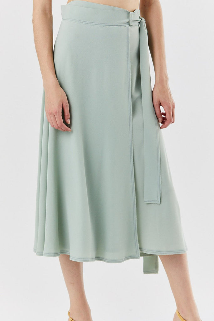 VERONIQUE LEROY - belted wrap skirt, sage