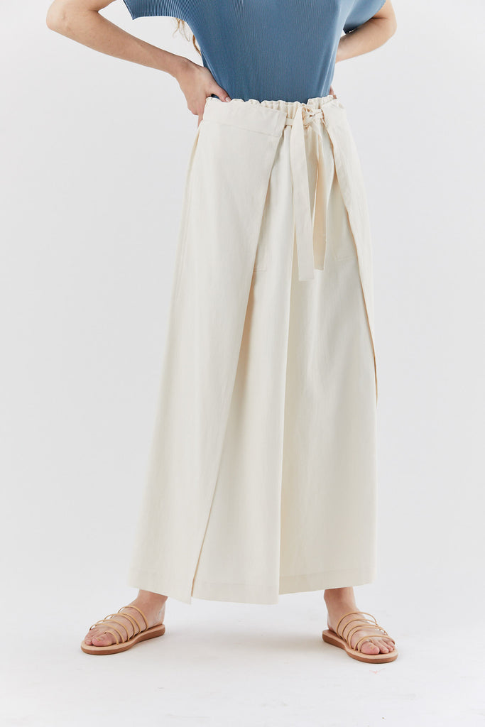 wrap bottom pant, Off-white
