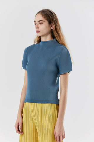 mist march mock neck top, Steel Blue