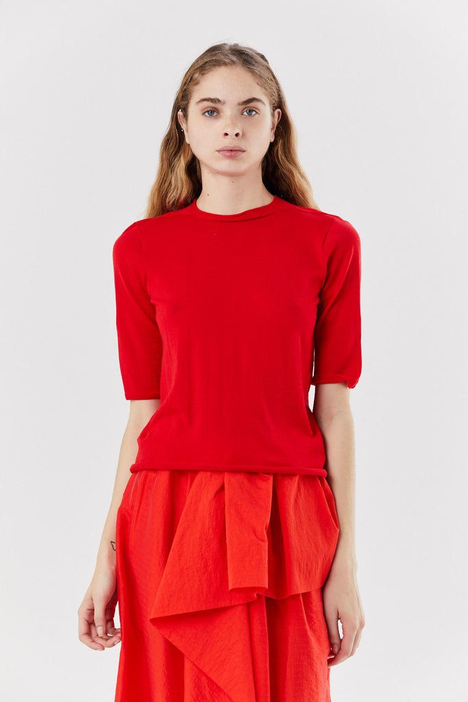 knit tee, Red