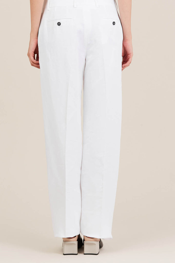 Straight Leg Trousers, White by Jil Sander