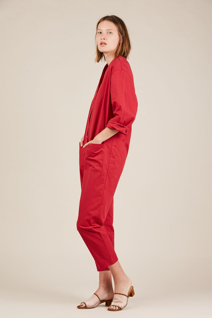 Patch Pocket Jumpsuit, Red