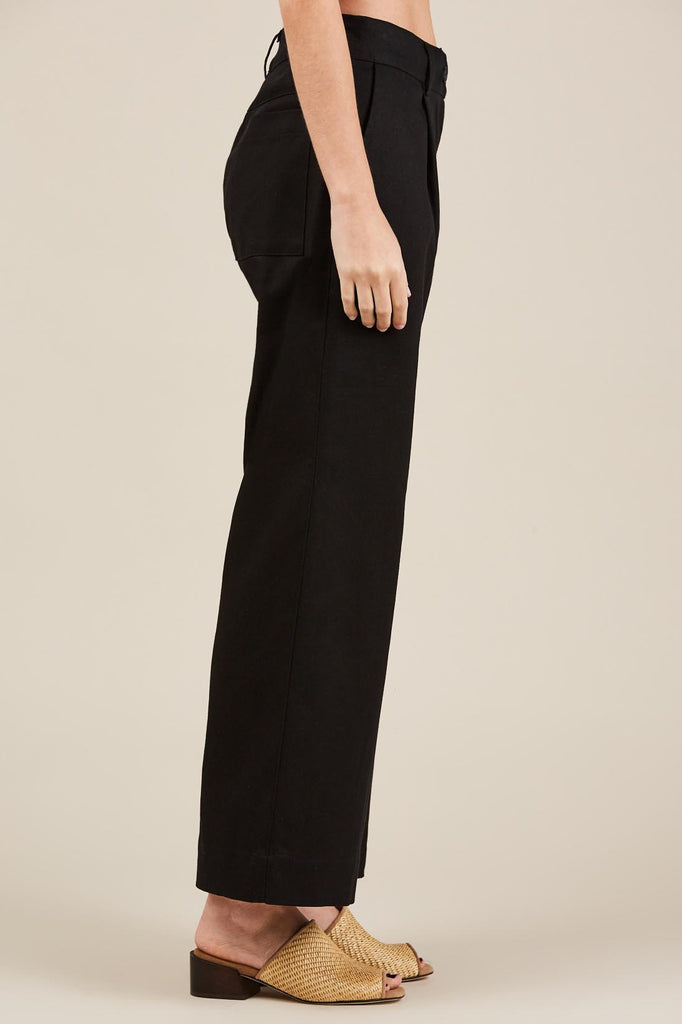 Single Pleat Wide Pant - Black - Grei