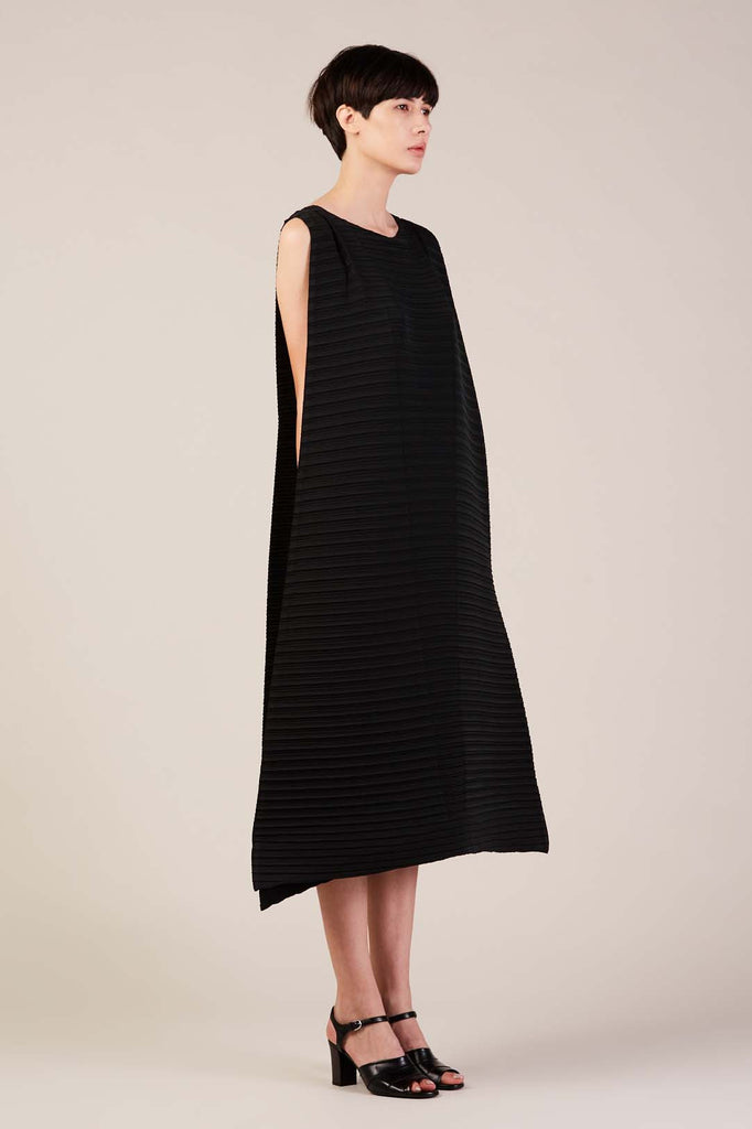 Long Pleated Dress with Belt in Black by Issey Miyake