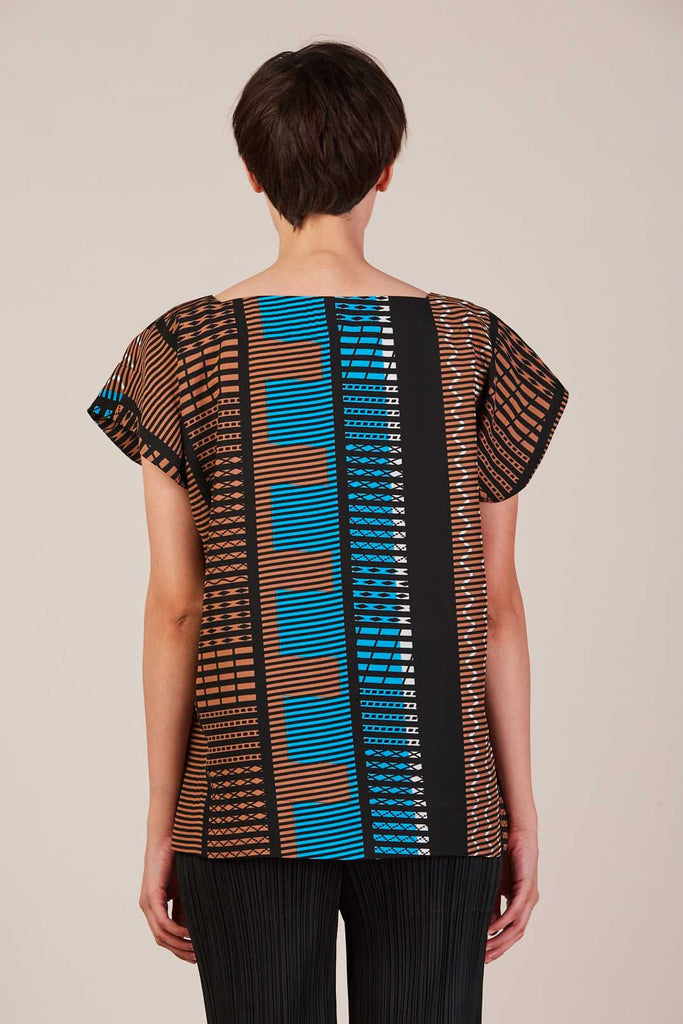 Patter Top in Blue/Brown by Issey Miyake