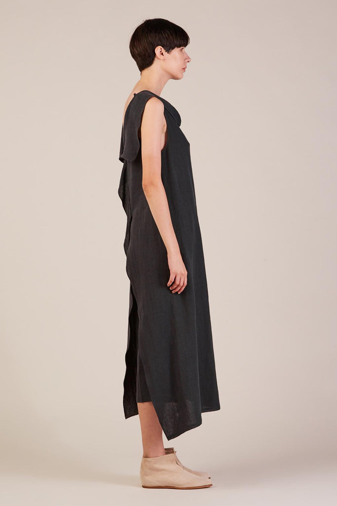 Long Asymmetrical Top, Black Tulip by Dusan