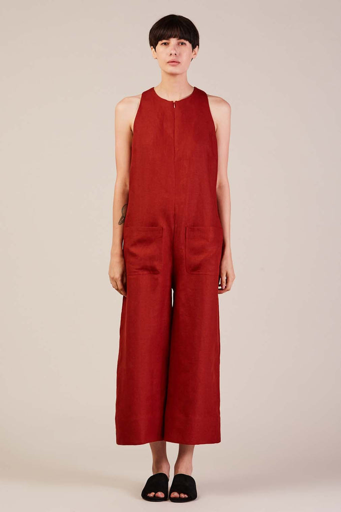 Cropped Jumpsuit, Brick by Nomia