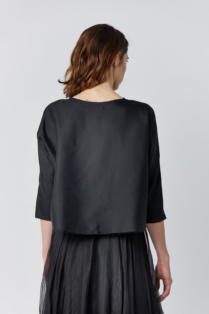 Louiza Babouryan - silk and linen top, black
