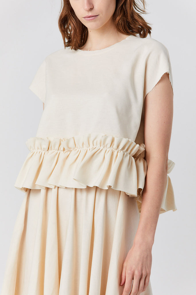 silk and linen top, natural