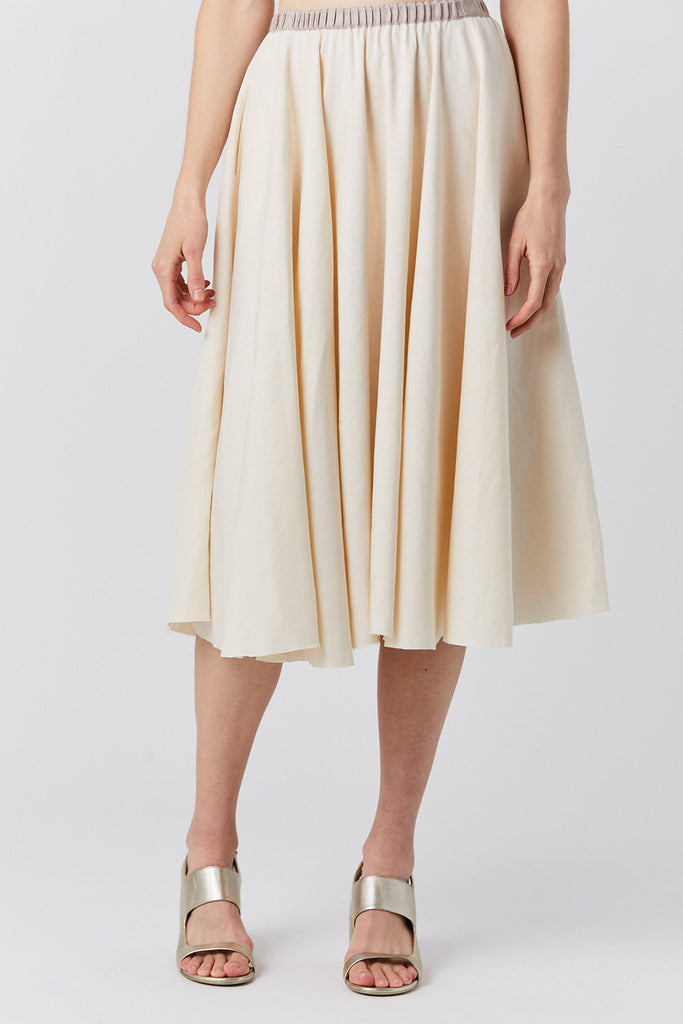 silk and linen skirt, natural