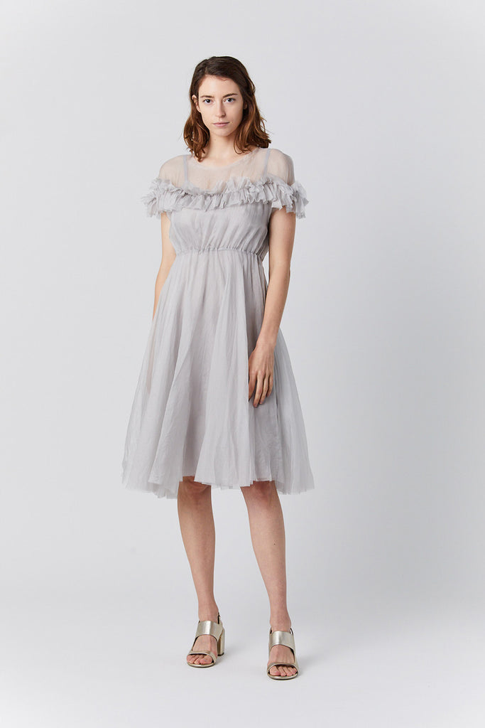 organaza ruffle dress, fog