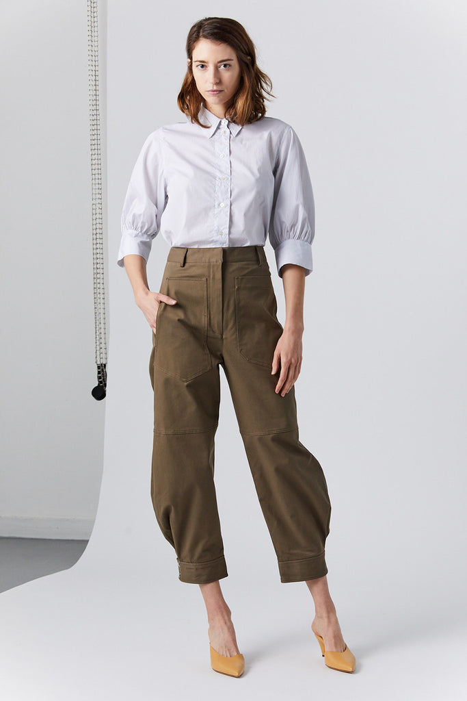 TIBI - myriam twill sculpted pant, brown
