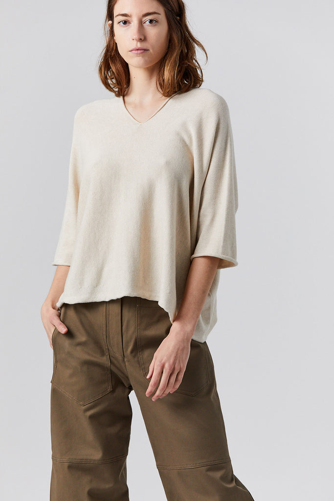 Lauren Manoogian - horizontal huipil sweater, ecru