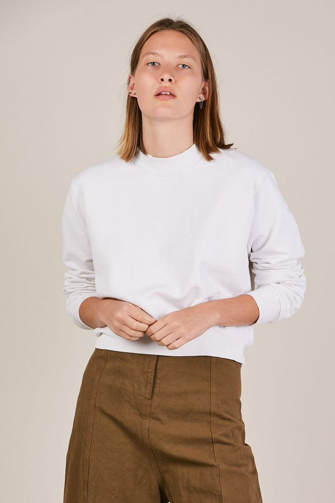 Milan Cropped Crew Sweatshirt, White