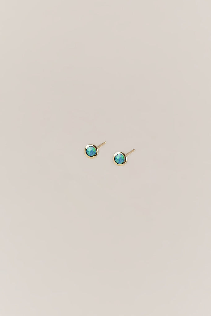 Tiny Dot Studs, Blue Opal & Gold