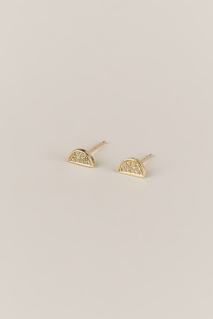 Semi Circle Studs, Gold & Pavé
