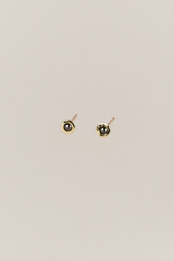 Tiny Dot Studs, Gold & Black Diamond