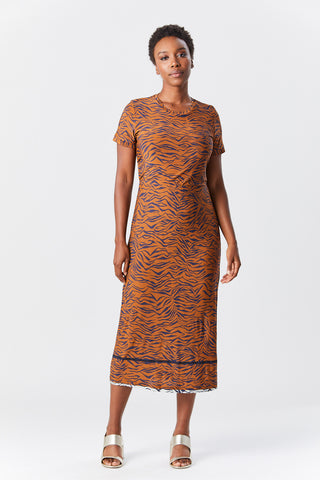 amara dress, Tobacco multi zebra