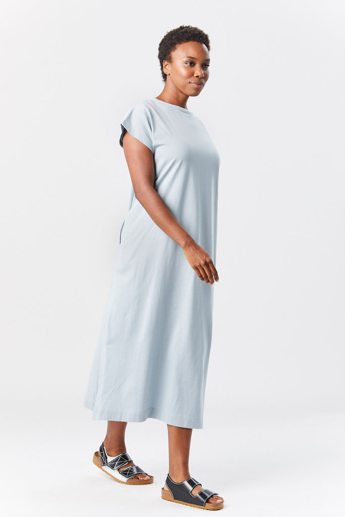 Pleats Please by Issey Miyake - easy tee dress, pale blue