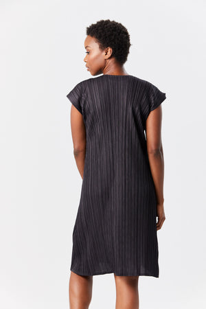 Pleats Please by Issey Miyake - mellow pleats short dress, charcoal