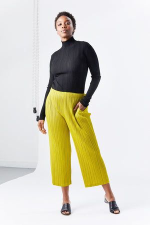 Pleats Please by Issey Miyake - thicker bottoms pant, yellow