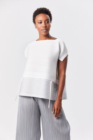 Pleats Please by Issey Miyake - stone gradation top, white and grey